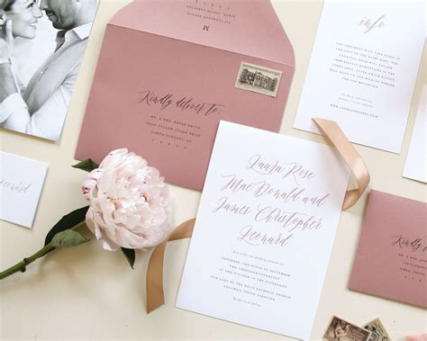 Dusty Pink Wedding Invitations