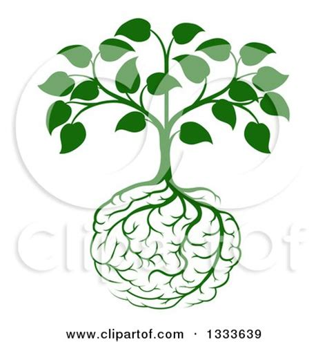 clipart of a leafy green heart shaped tree with brain