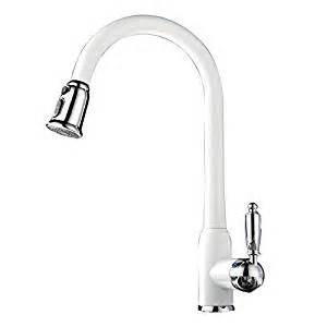 white kitchen sink faucets wondlov pull out dual spray kitchen sink faucet high arc pull kitchen faucet white coated