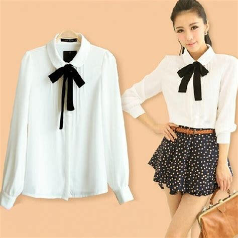 Korean Style Open Shoulder Blouse Estrella korean students sweet bow chiffon blouse 183 fashion kawaii