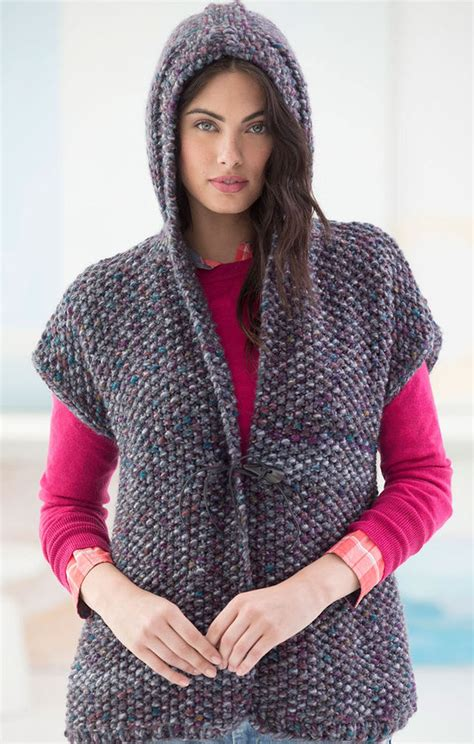 knitted hoodie pattern womens free knitting pattern for powder ridge hooded vest seed