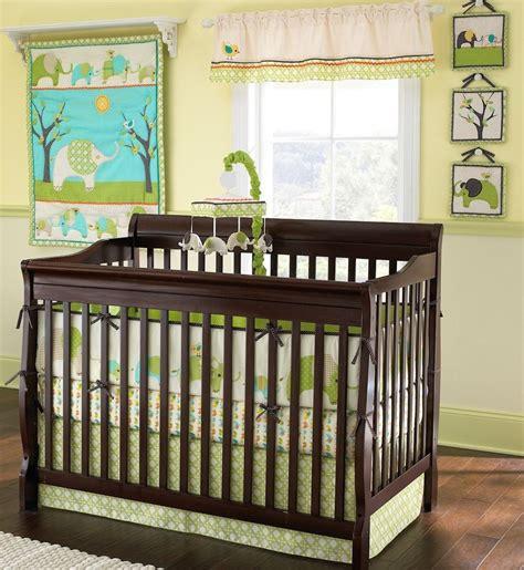 Green Nursery L by Elephant Parade Boys Crib Bedding Set 7 Pc