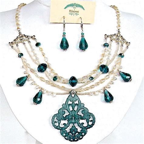 Chandelier And Pendant Sets Pearl And Chandelier Necklace Set