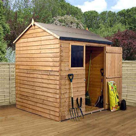 wooden overlap garden storage sheds window single door