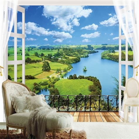 mural bedroom wallpaper custom any size nature landscape window 3d wall mural