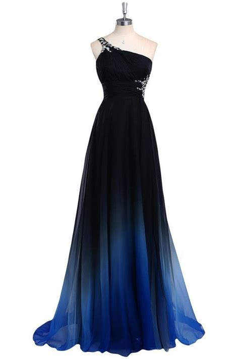 prom dresses in colors red black blue prom one shoulder crystals beaded gradient chiffon long navy