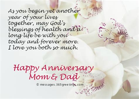 Wedding Anniversary Wishes Allah by Anniversary Messages For Parents 365greetings