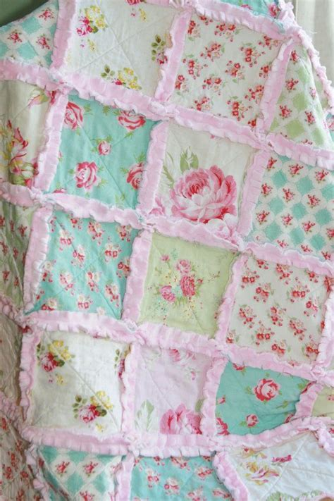 crib rag quilt baby girl crib bedding shabby chic nursery pink blue nursery on etsy 118 95
