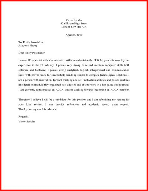 Cover Letter Exles For It by Basic Cover Letter Sle Apa Exle