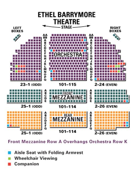 ethel barrymore theatre seating chart theatre   york
