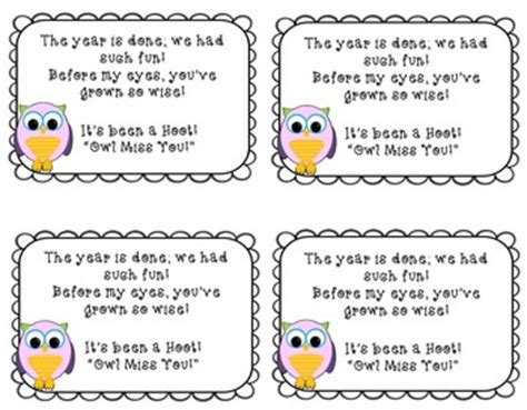 owl miss you card template owl miss you end of year card for your students tpt