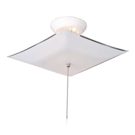 design house 2 light white ceiling square mount light