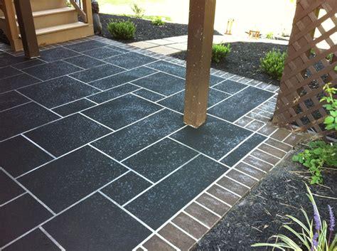 cement overlay patio concrete restoration custom slate patterns on large