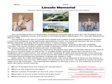 Abraham Lincoln Comprehension Worksheet by Reading Comprehension Lincoln Memorial 3rd 5th Grade