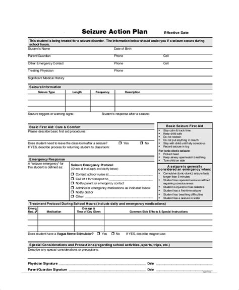 seizure action plan template seizure plan template choice image free templates