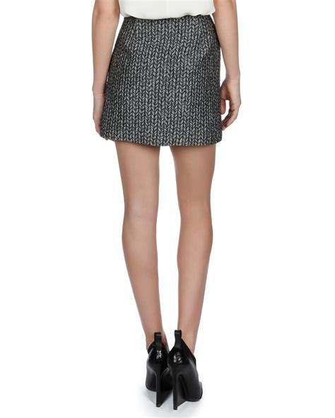 balenciaga jacquard mini pencil skirt in black lyst