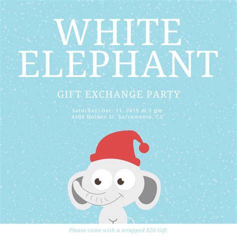 Kids Party Invitation Templates Canva White Elephant Invitations Templates