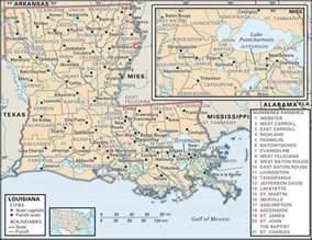 louisiana and map state and parish maps of louisiana