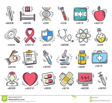 Stock United Healthcare Health Care And Medicine Doodle Icon Set Stock Vector