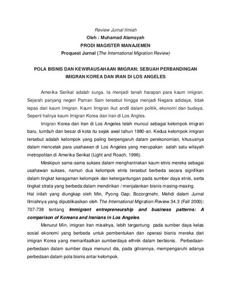 membuat review jurnal ilmiah tugas review jurnal ilmiah kewirausahaan imigran korea vs