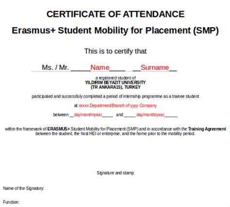 sle certificate of attendance template certificate of attendance template microsoft word sle