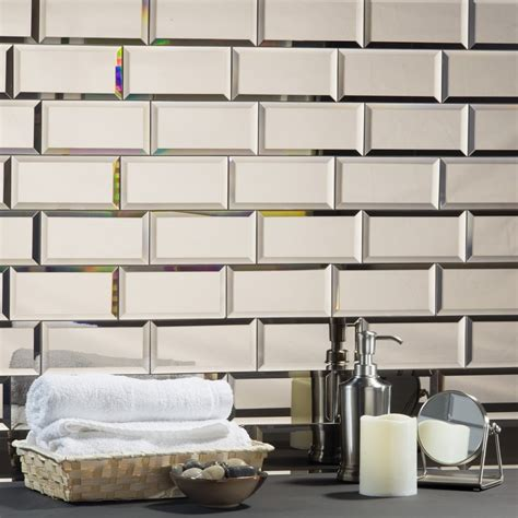 mirrored subway tiles beveled glass tile silver subway tile glass mirror