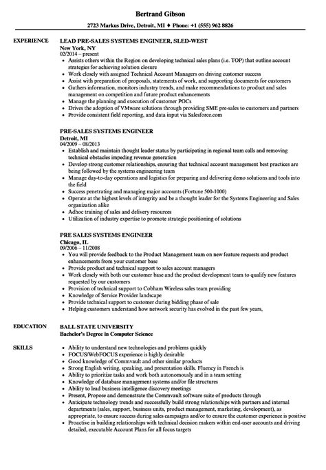 Systems Engineering Manager Sle Resume by Pre Sales Systems Engineer Resume Sles Velvet