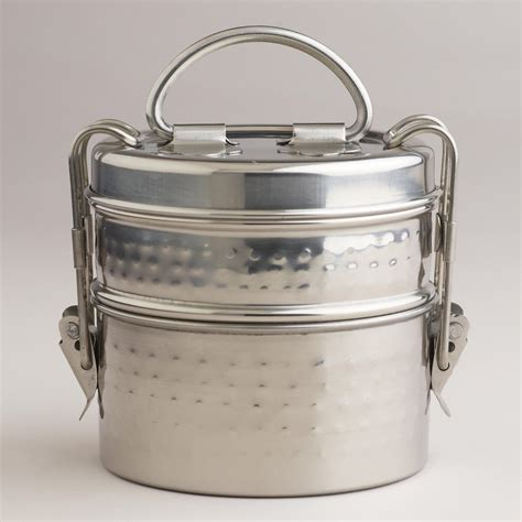 Indian Home Decor Stores by Hammered Metal Tiffin Lunch Box World Market