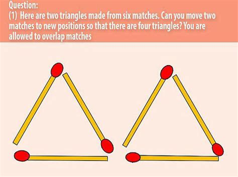 triangle pattern problem brain teaser can you solve this tricky matchstick puzzle
