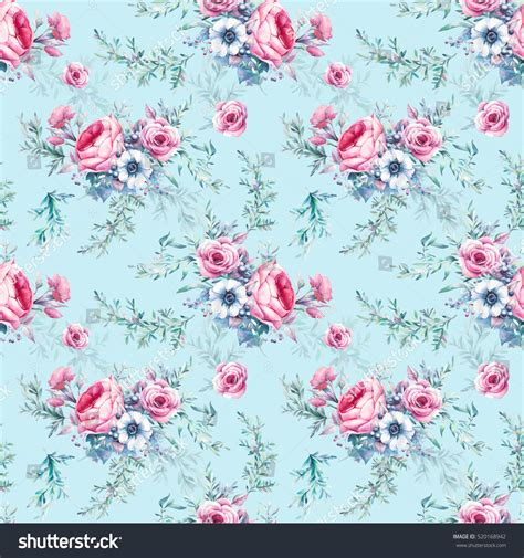 a seamless repeating retro floral watercolor vintage floral seamless pattern stock