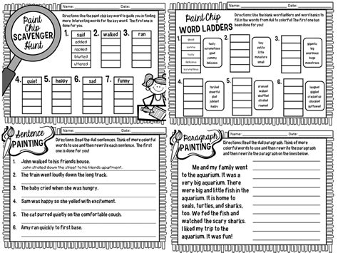 Shades Of Meaning Worksheets by Snaps Painting Your Writing With Colorful Words
