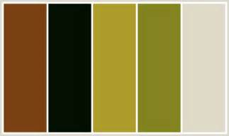 what colors go with olive colorcombo383 with hex colors 7a4012 040f01 ae9c2c