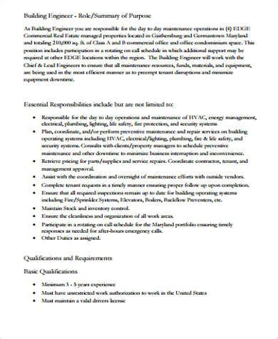 commercial model job description building engineer job description sle 8 exles in