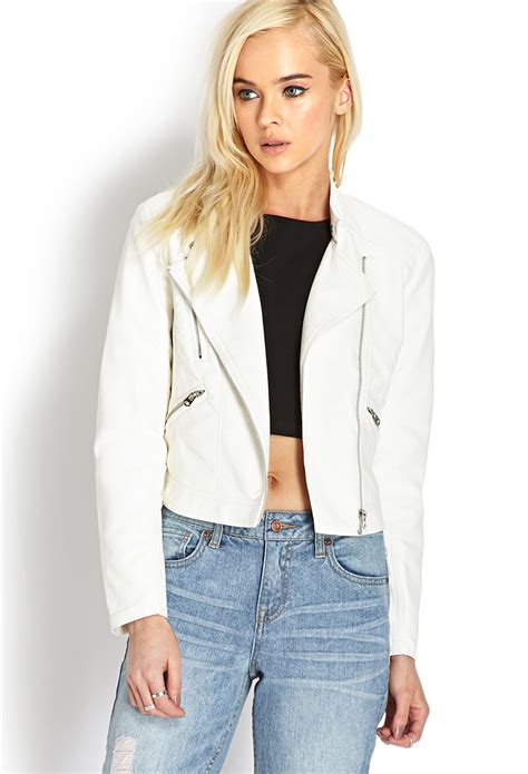 Forever 21 Black White Jacket Zipper T3010 1 forever 21 forever cool faux leather jacket in white lyst