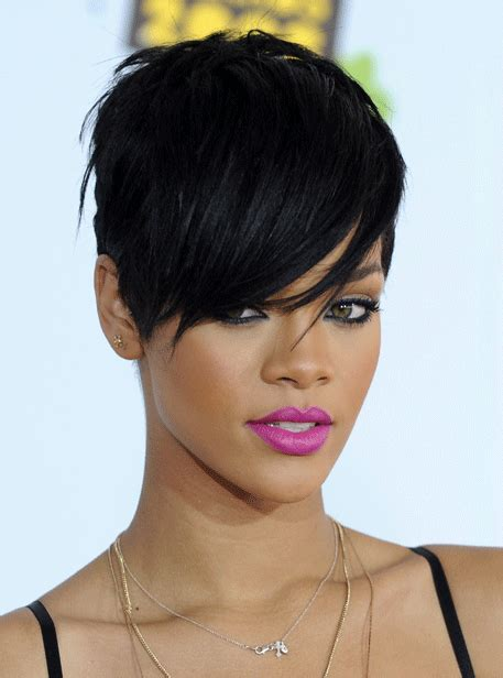 how to style short hair all combed forward for women 50 great rihanna hairstyle photos strayhair