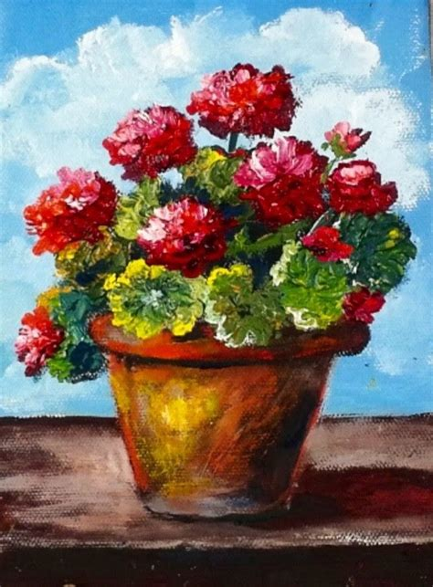 acrylic painting cook cook how to use a palette knife to paint potted