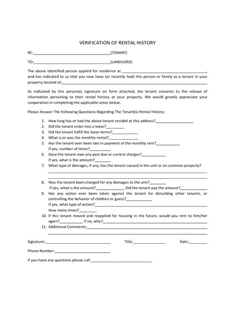 Rent Verification Letter Exle Rental History Verification Form 2 Free Templates In Pdf Word Excel
