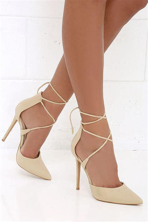 Sandal Wanita Knt Gold Point Heels Beige heels lace up heels caged heels 36 00