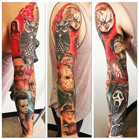 single needle tattoo edmonton horror sleeve done by chad lavers crimson empire