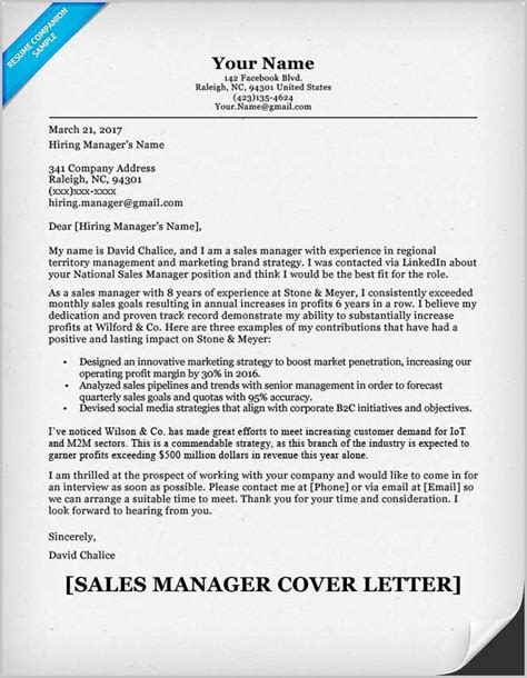 Cover Letter For The Post Of Area Sales Manager by Cover Letter For Resume Exles Sales Cover Letter