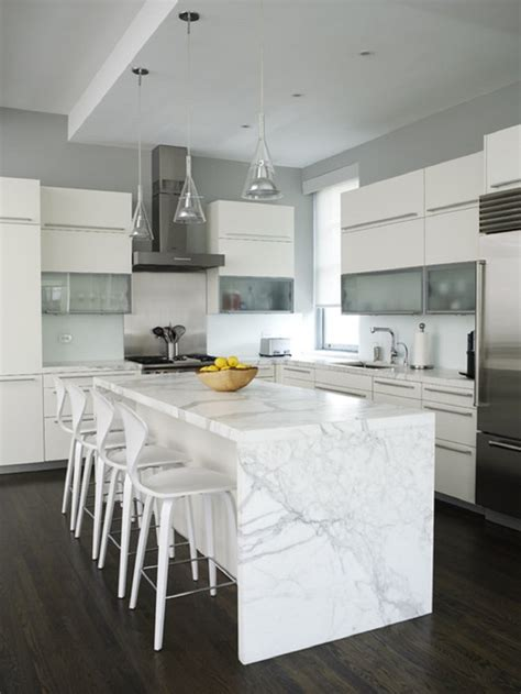 White Marble Kitchen Island White Kitchen Countertops With Brown Cabinets This For All
