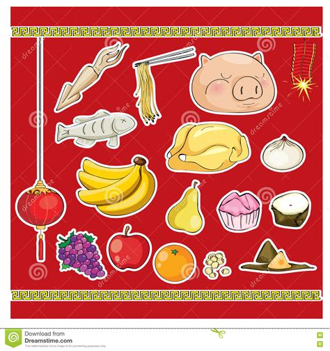 new year food vector culture ancestor food offering stock vector