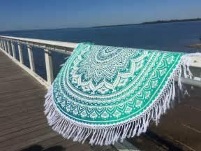Duvet Cover Set Twin White Amp Sea Green Ombre Round Beach Towel Mandala Roundie