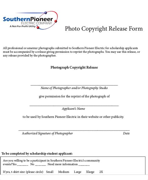 photo copyright release form template 7 sle photography copyright release forms sle