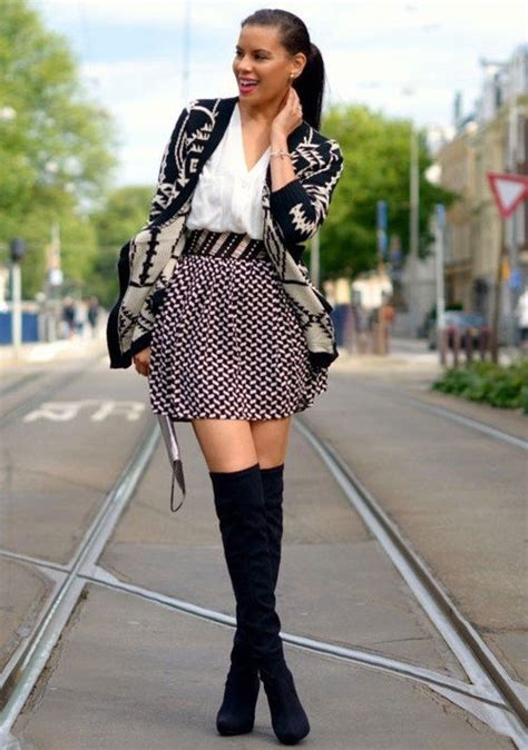knee high boots with mini skirt and cardigan pictures