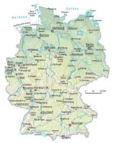 map of showing cities deutschland fluss karte