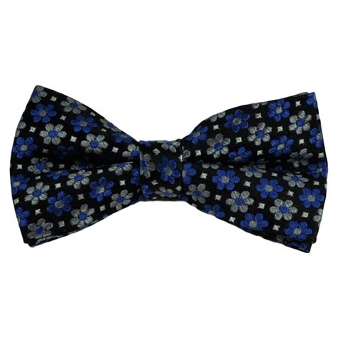 Patterned Bow Tie by Black Silver Royal Blue Flower Patterned Silk Bow Tie