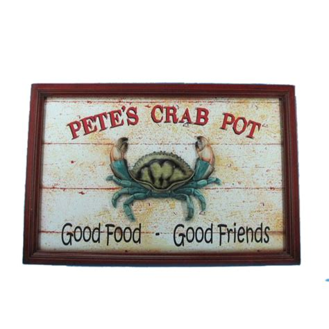 Wholesale Home Decor Signs Buy Wooden Pete S Crab Pot Sign 24 Inch Wholesale Sea Decor Home