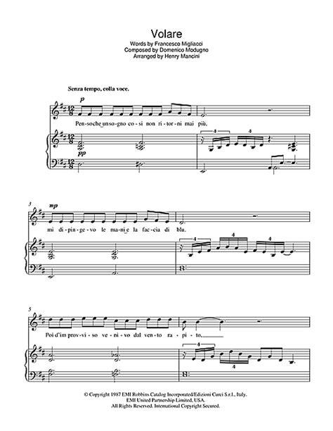 volare nel dipinto di sheet by luciano pavarotti piano vocal guitar 39232