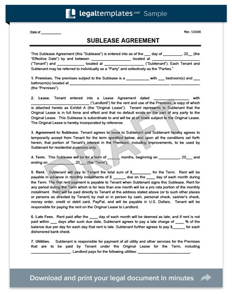subletting lease agreement template sublease agreement template create a free sublease agreement